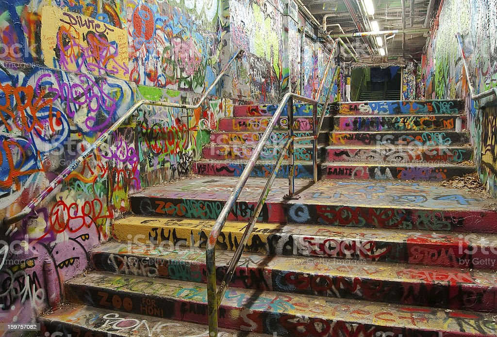 Stairway tunnel filled with Graffiti in University of Sydney stock photo