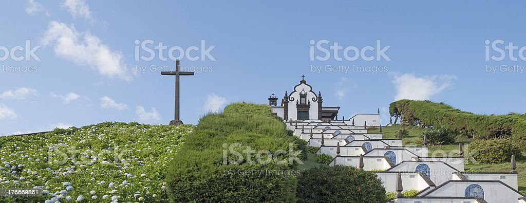 Stairway uphill to a church on the Azores royalty-free stock photo