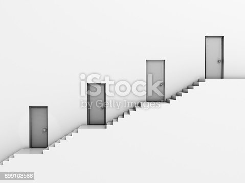 1154986671 istock photo Stairway with doors as background 3d illustration 899103566