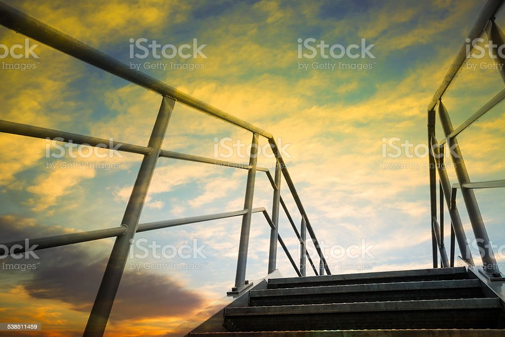 Stairway with sky at sunset stock photo