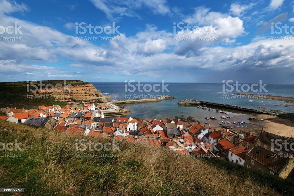 Staithes and Harbour from Above stock photo