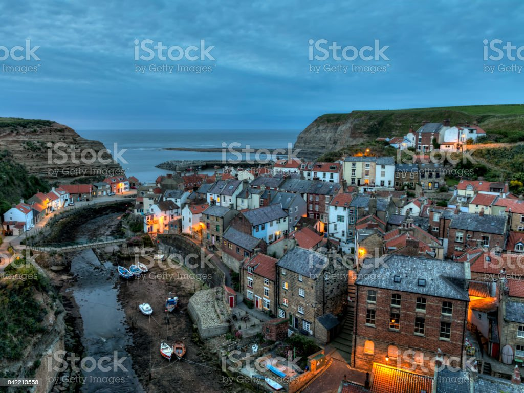 Staithes at dusk stock photo