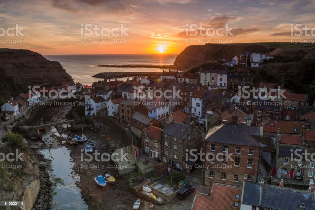 Staithes at Sunrise stock photo
