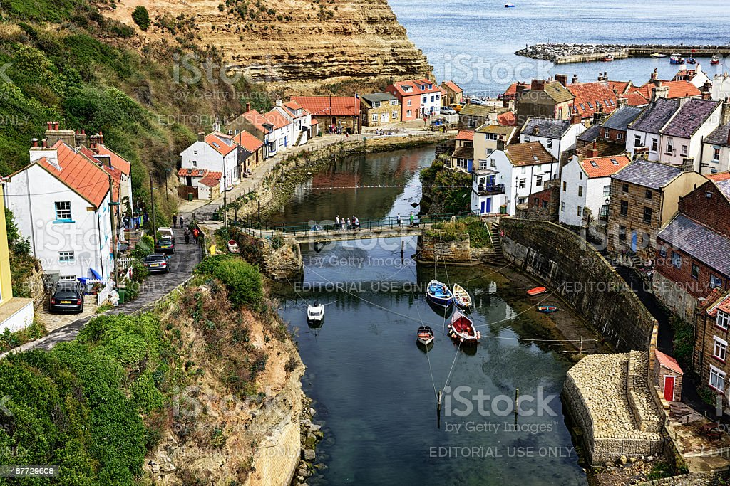 Staithes Beck and Harbour in North Yorkshire, England stock photo