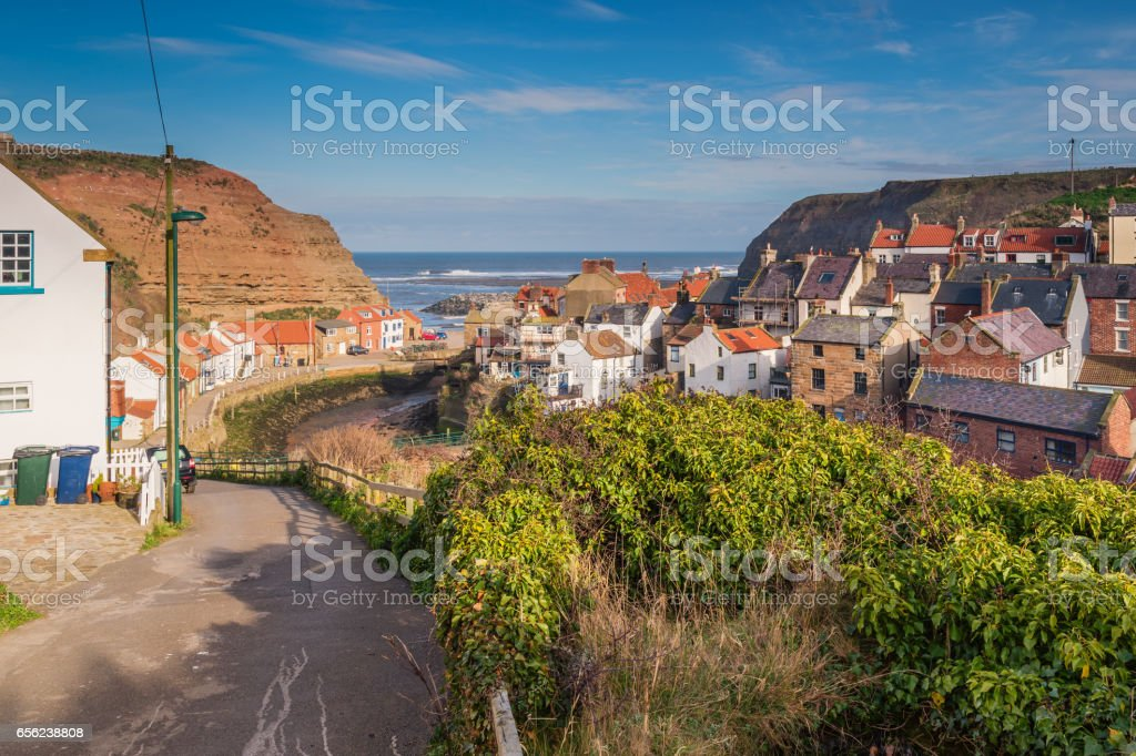 Staithes Beck winds through the Village stock photo