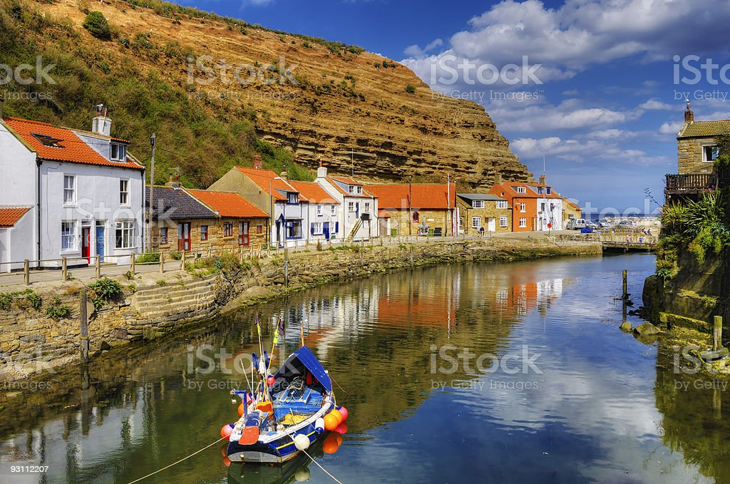 Staithes harbor stock photo