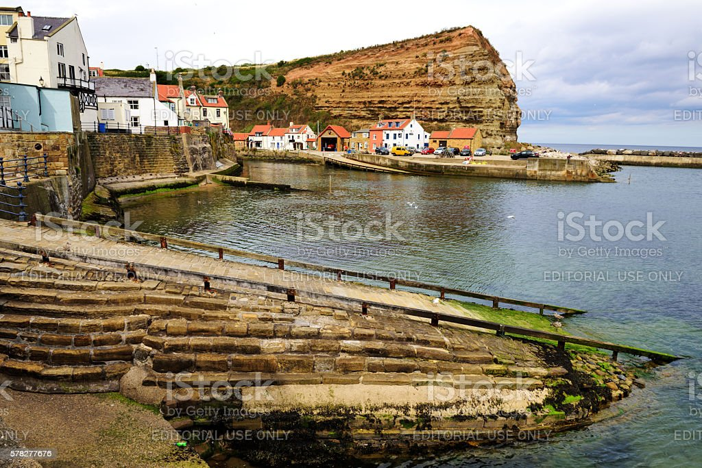 Staithes Harbour and boat launch,  Yorkshire, England stock photo