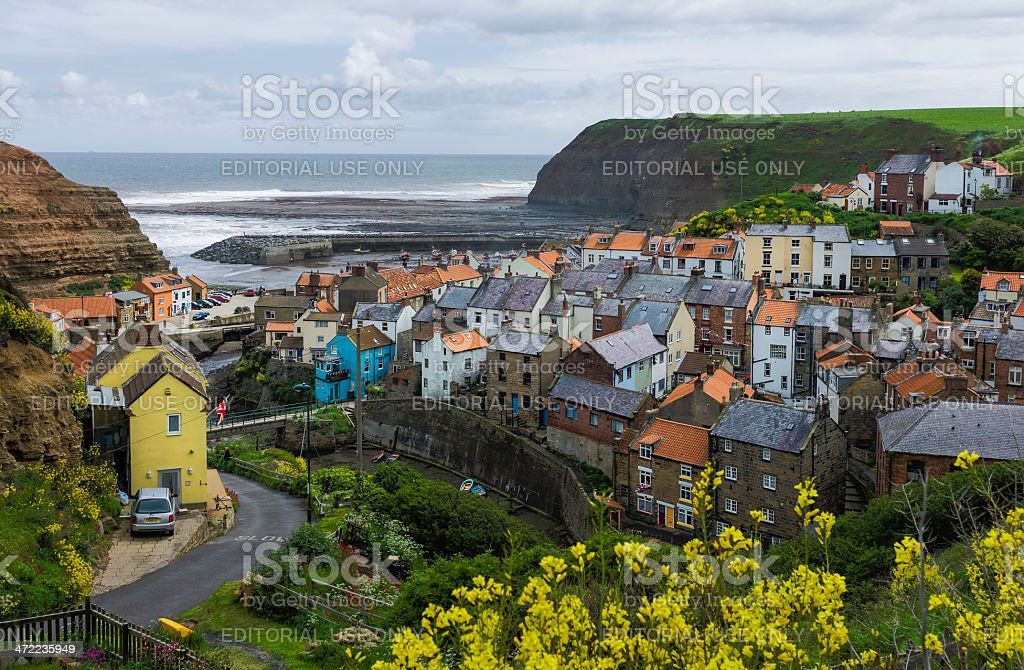 Staithes harbour, Yorkshire, UK. stock photo
