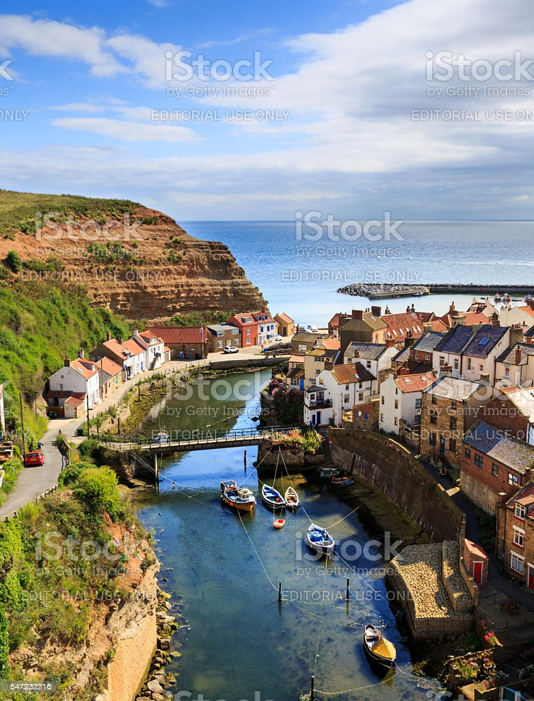 Staithes, high viewpoint, showing the beck and the town stock photo