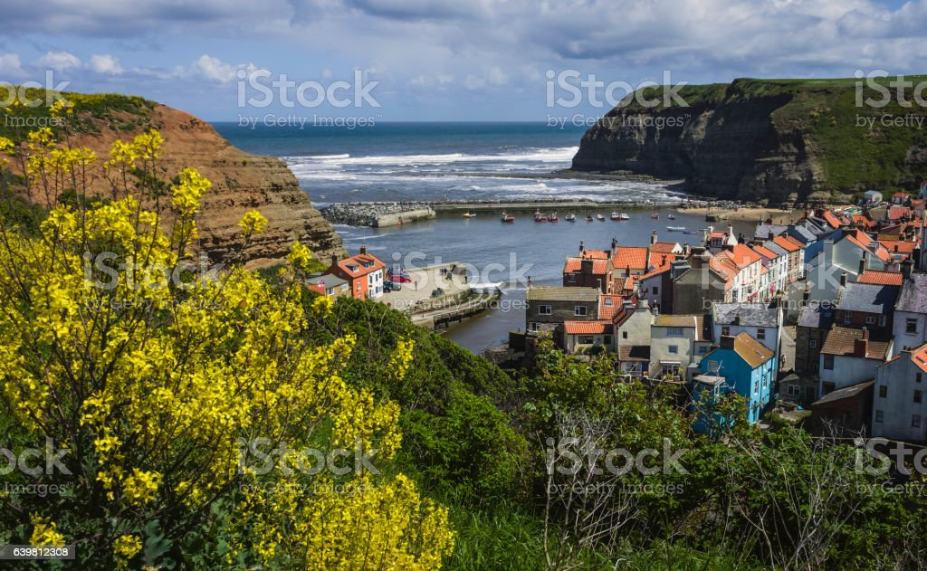 Staithes on a fine spring morning, Yorkshire, UK. stock photo