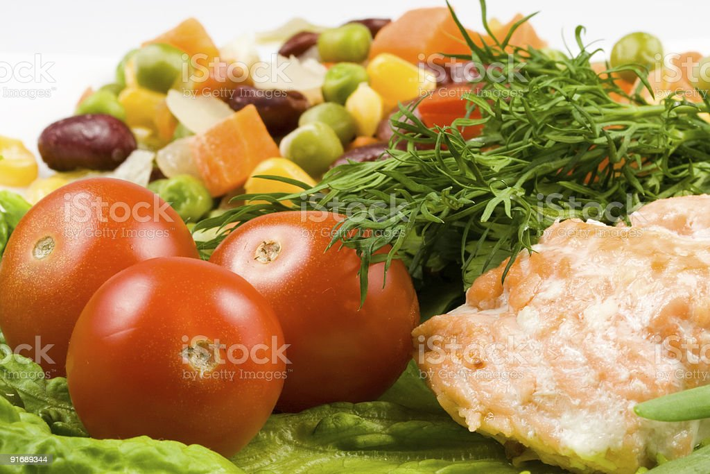 Stake from a salmon with vegetables royalty-free stock photo