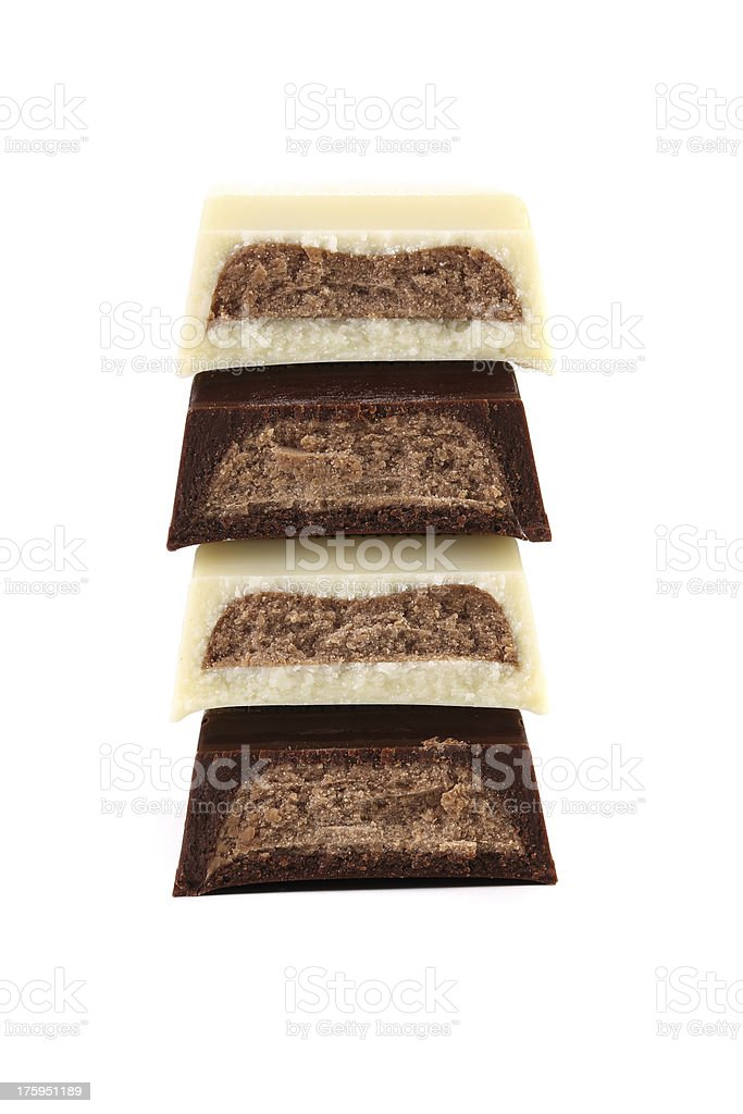Stake of different chocolate bars. royalty-free stock photo