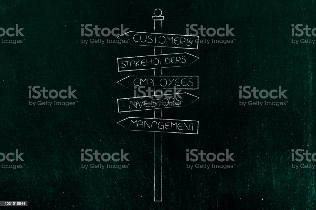 Stakeholders and business people keywords into road sign stock photo