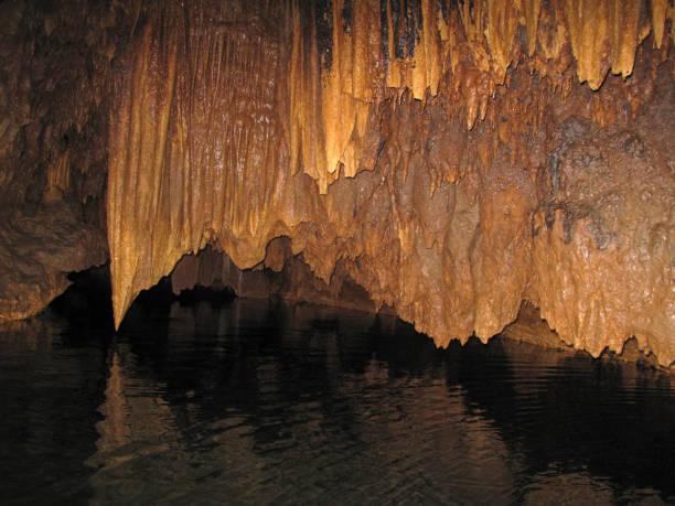 Stalactites in the Barton Creek Cave, Belize stock photo
