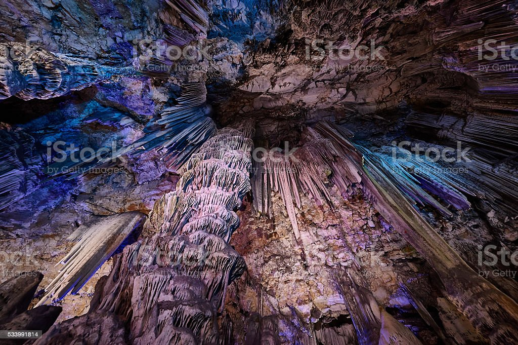 Stalactites inside of the St. Michaels cave in Gibraltar stock photo