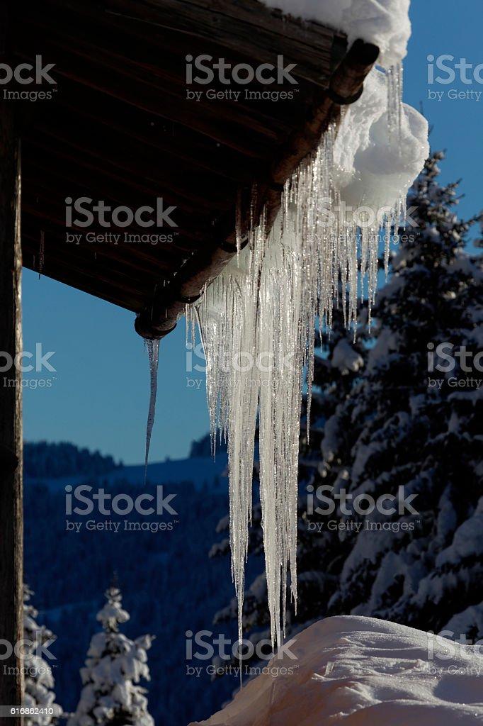Stalactites of ice stock photo