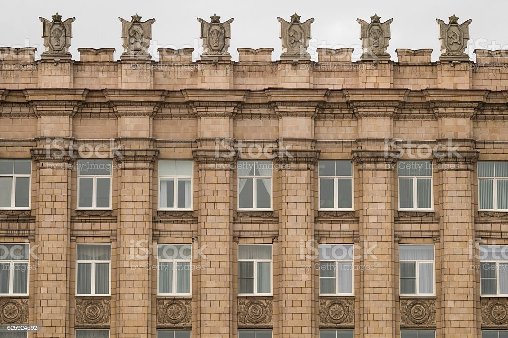 Stalinist Empire style of architecture with USSR symbols stock photo