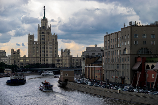 Moscow, Russia - July 4, 2017: Stalin's skyscraper on Kotelnicheskaya Embankment.