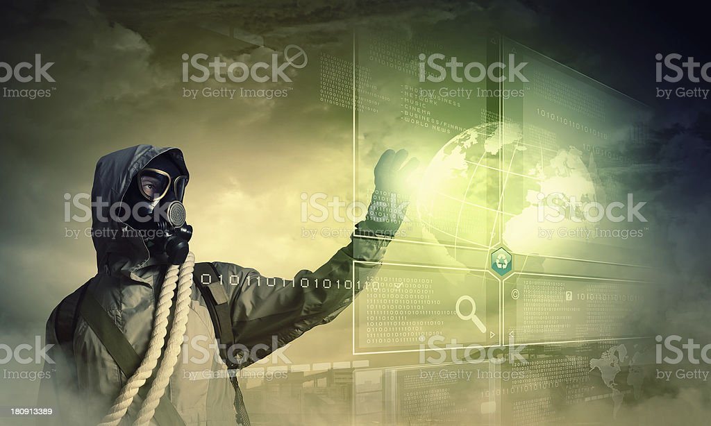 Stalker touching sign royalty-free stock photo