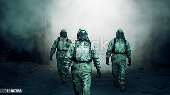 istock Stalkers in military protective clothing and a gas mask are walking along an abandoned and deserted metro. The concept of a post-apocalyptic world after a nuclear war. 3D Rendering 1214497563