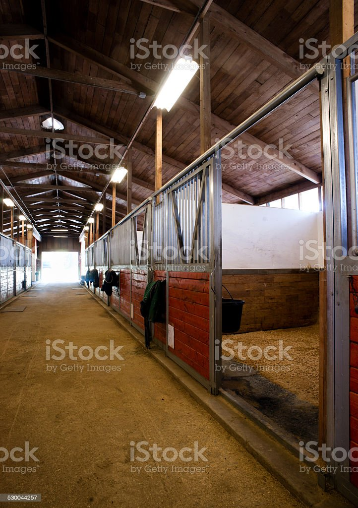 Stall Center Path Horse Paddock Equestrian Stable stock photo