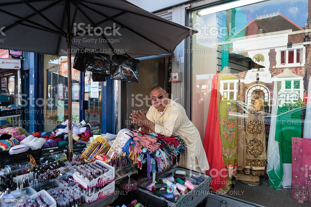 Stall holder on Pershore Road stock photo