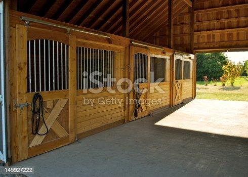istock 3 Stall Horse Barn 145927222