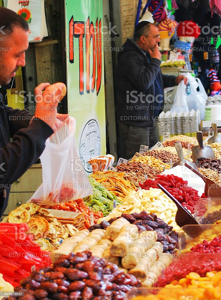 Stall owners in Jerusalem, Israel stock photo