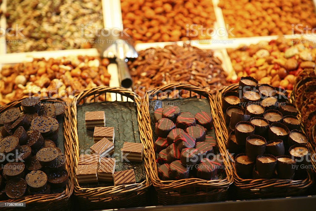 Stall with chocolates and nuts royalty-free stock photo