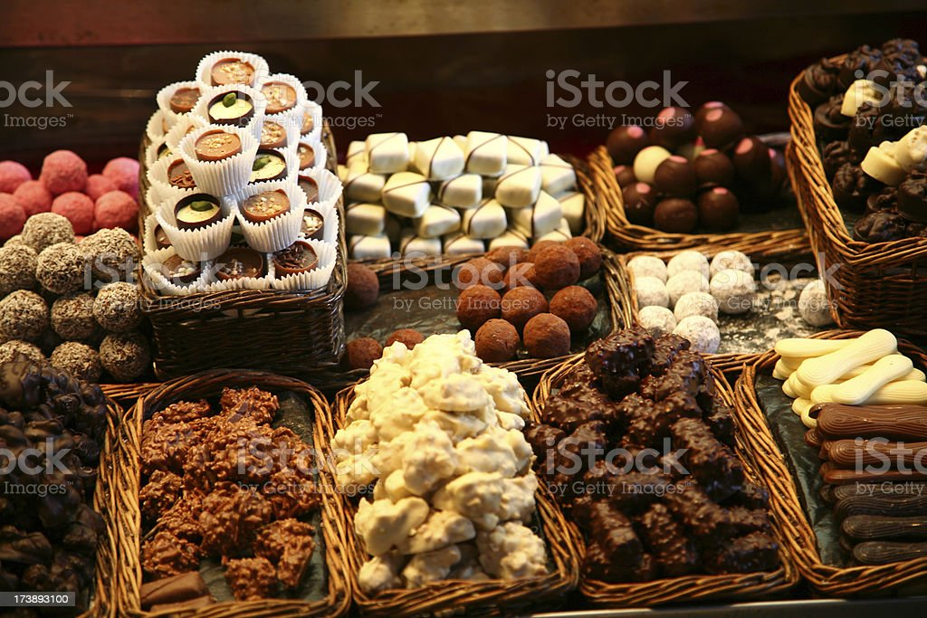 Stall with chocolates royalty-free stock photo
