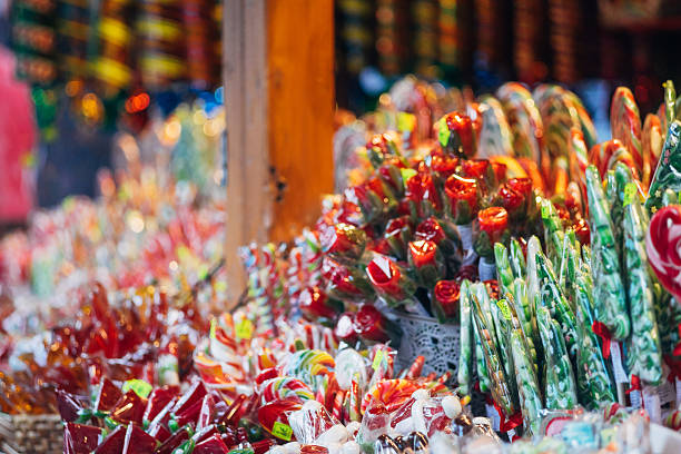 Stall with Christmas candies – Foto