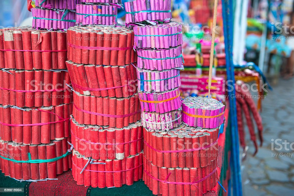 Stall with collection of Fireworks stock photo