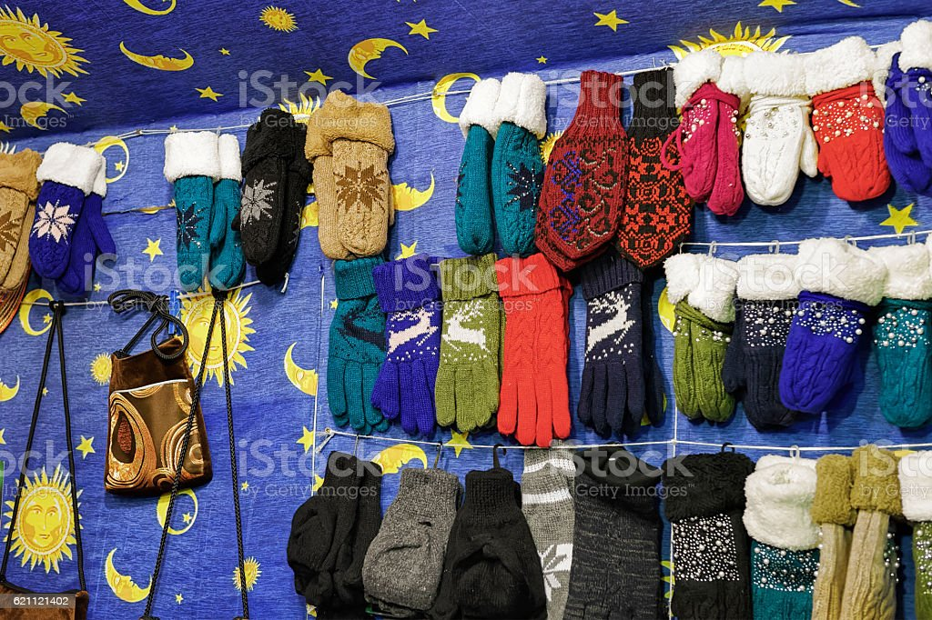 Stall with knitted gloves at the Vilnius Christmas Market stock photo