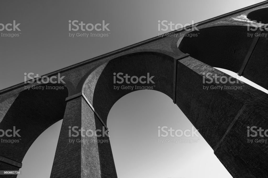 Stambermill Viaduct in Black and White. stock photo