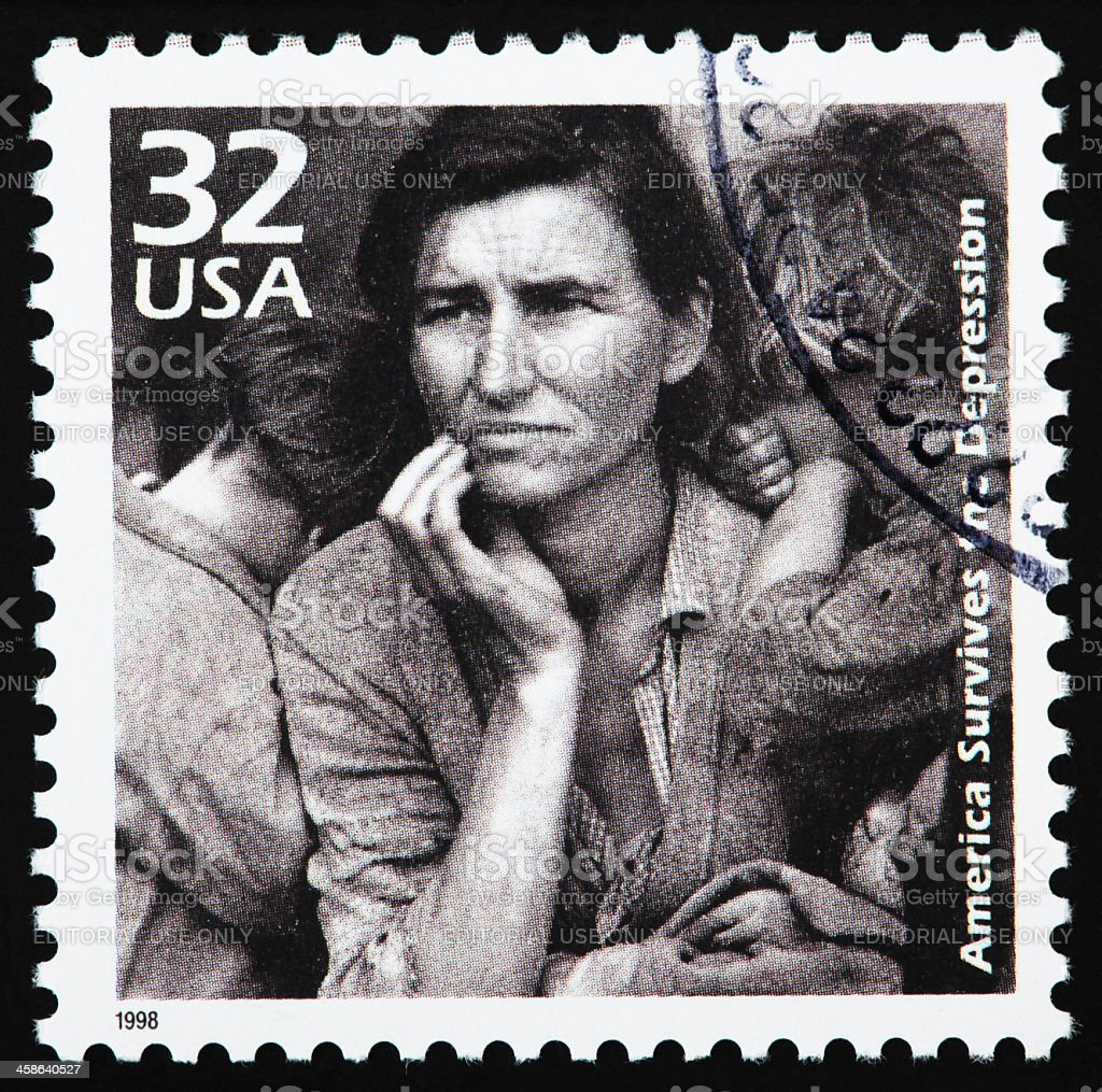 Stamp america survives the depression stock photo