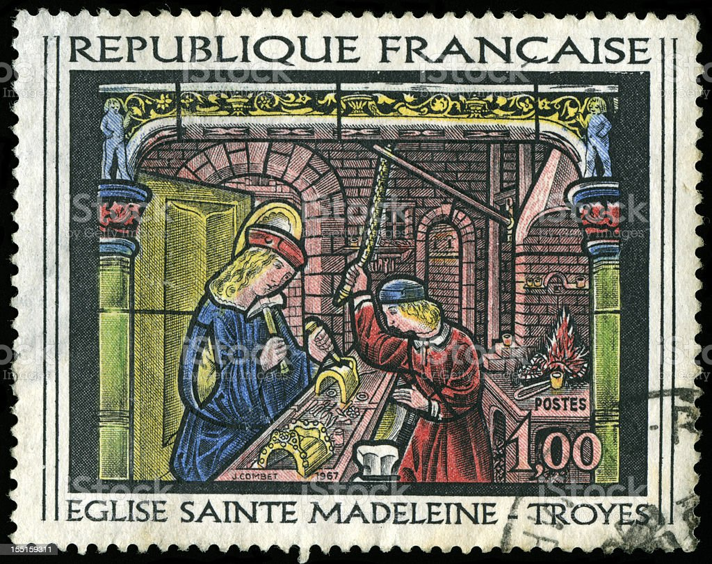 Stamp from France stock photo