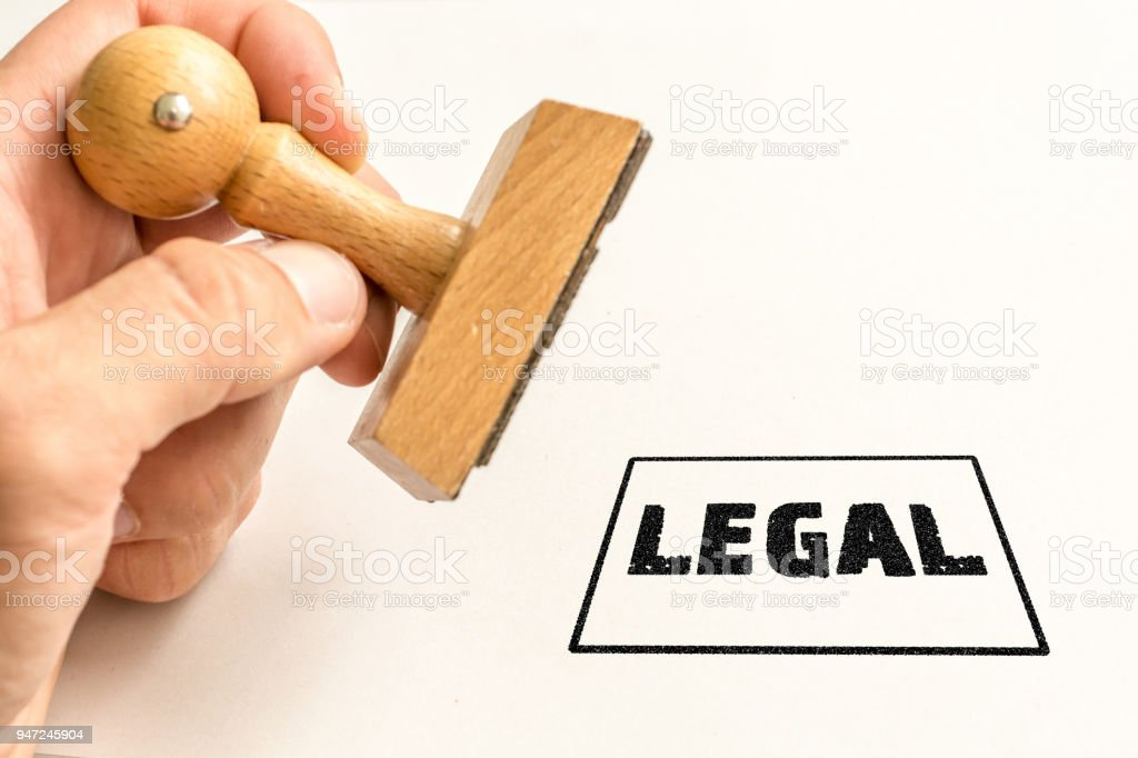 Stamp 'legal' on a white background stock photo