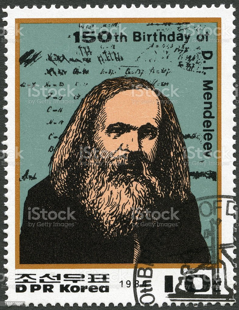 Stamp North Korea 1984 Dmitri Ivanovich Mendeleev (1834-1907) stock photo