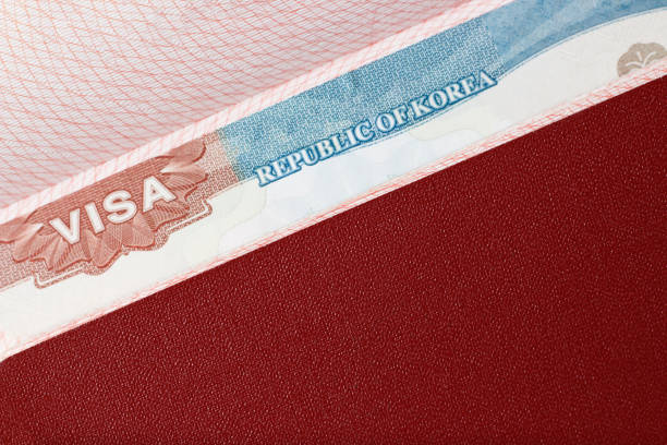 Stamp of a Korean visa in the passport close-up, top view stock photo