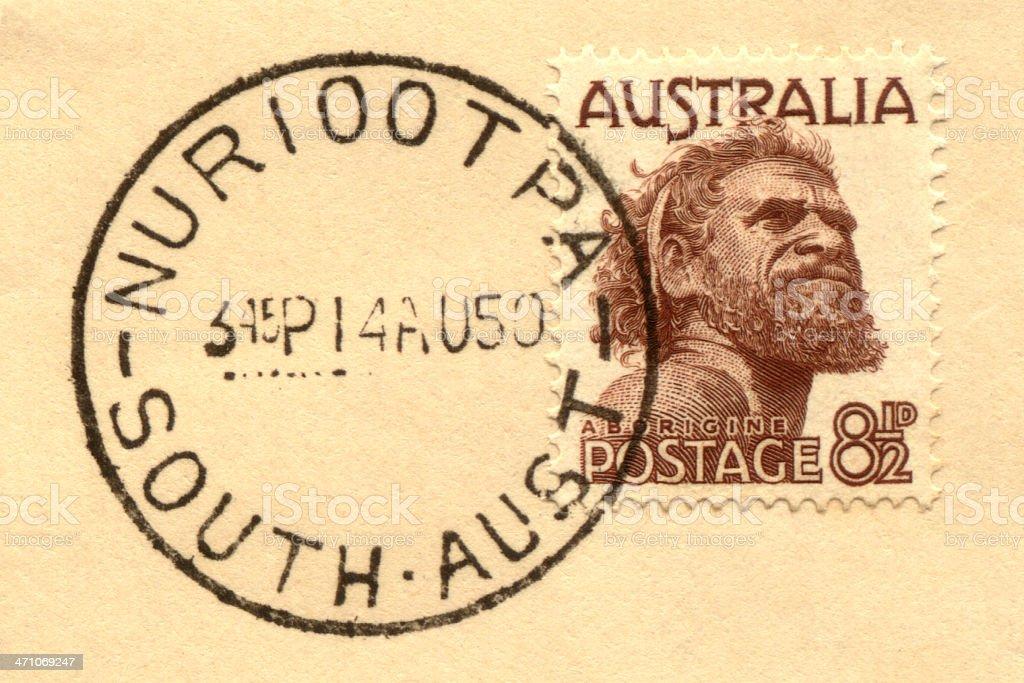 Stamp of Aborigine on Envelope stock photo