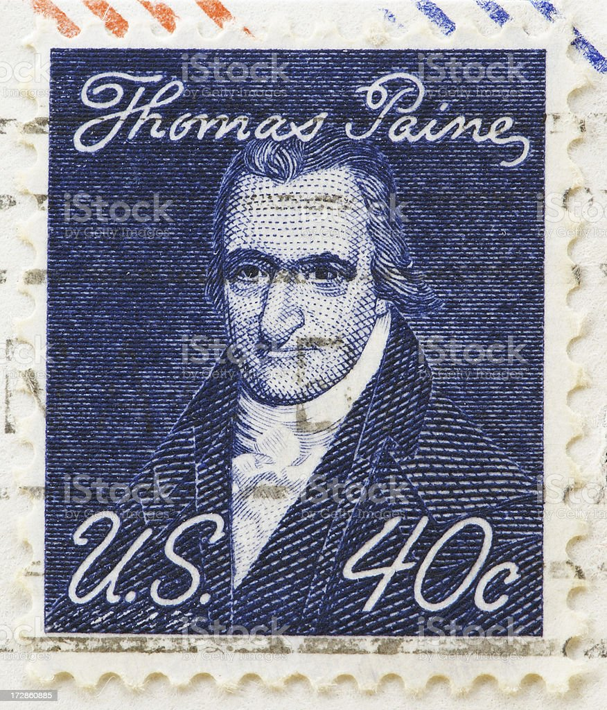 Stamp of Thomas Paine stock photo