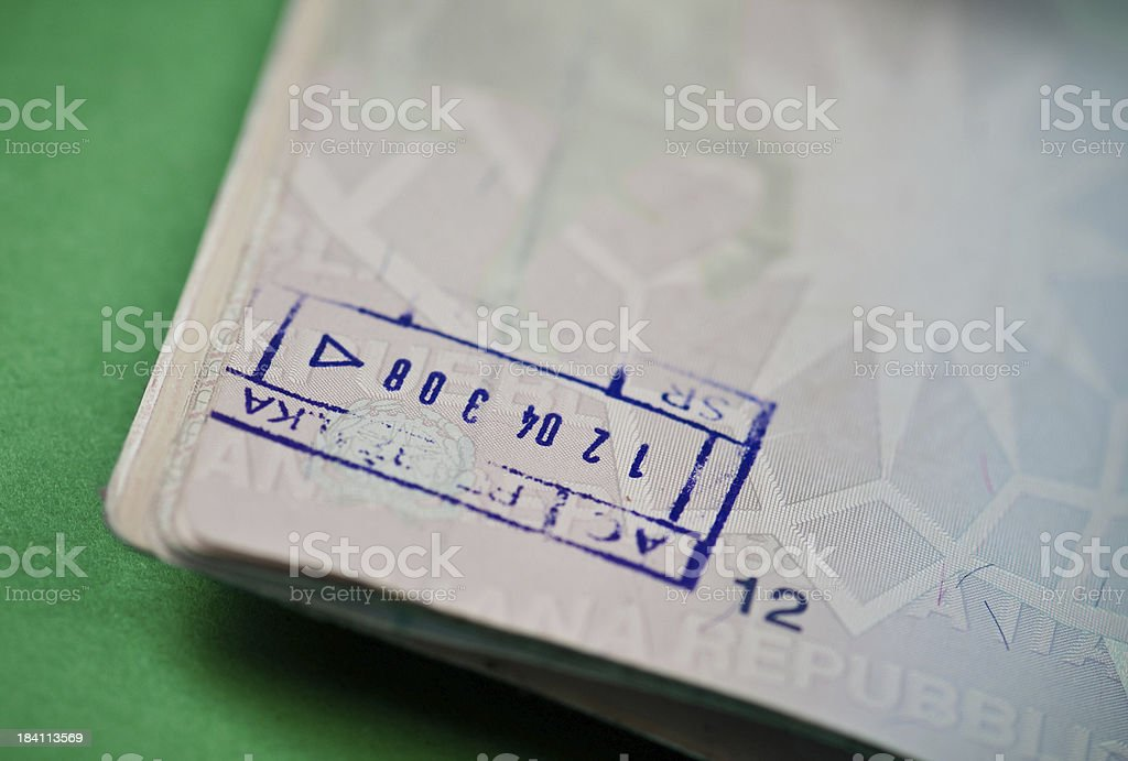 Stamp on a passport page royalty-free stock photo