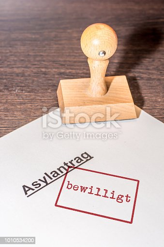 Stamp on white paper with the german words