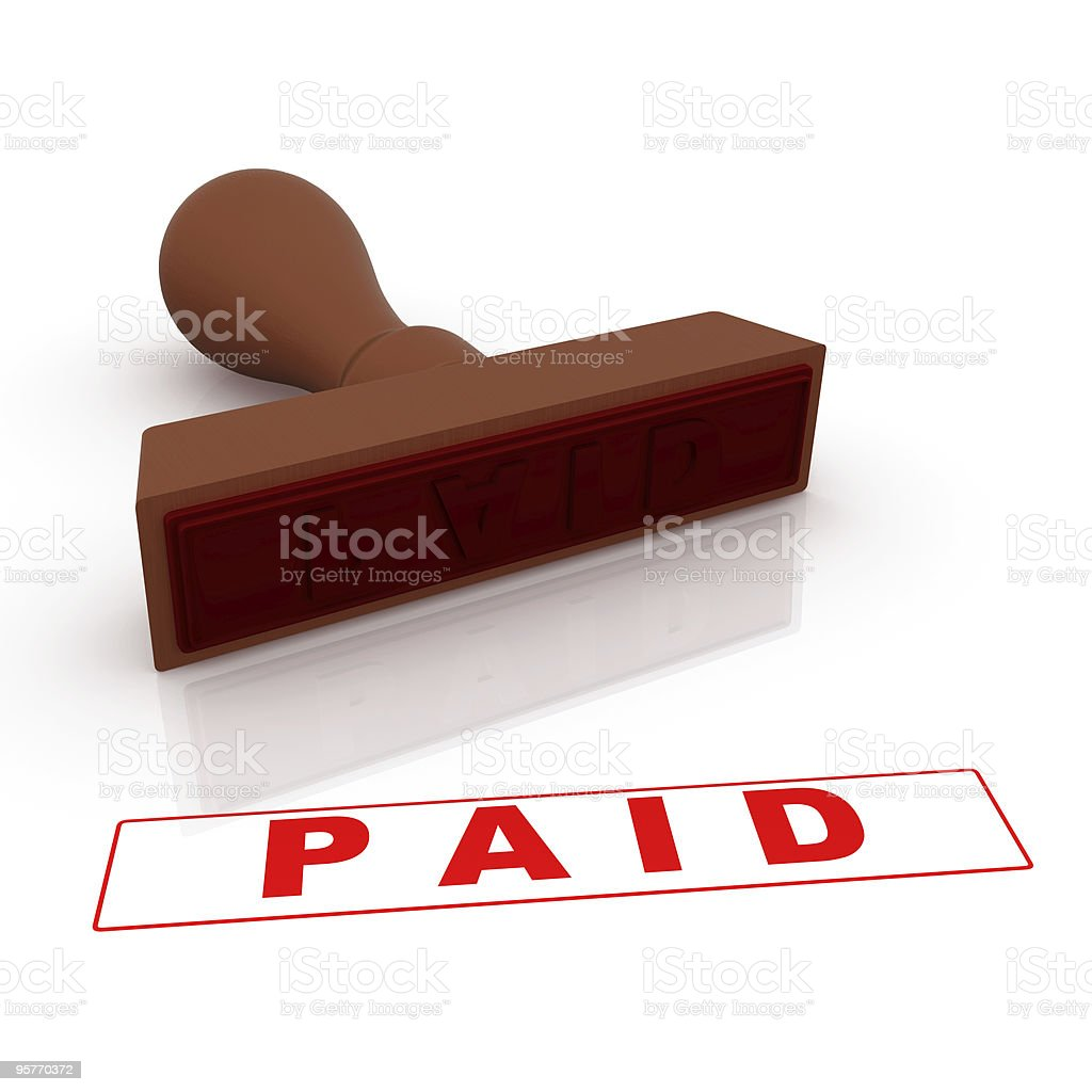 Stamp - Paid royalty-free stock photo