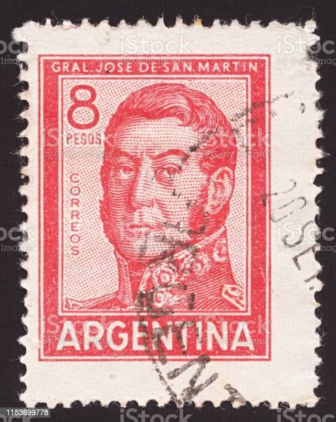 A stamp printed in Argentina shows Jose Francisco de San Martin (1778-1850), Personalities and Landscapes serie, circa 1965