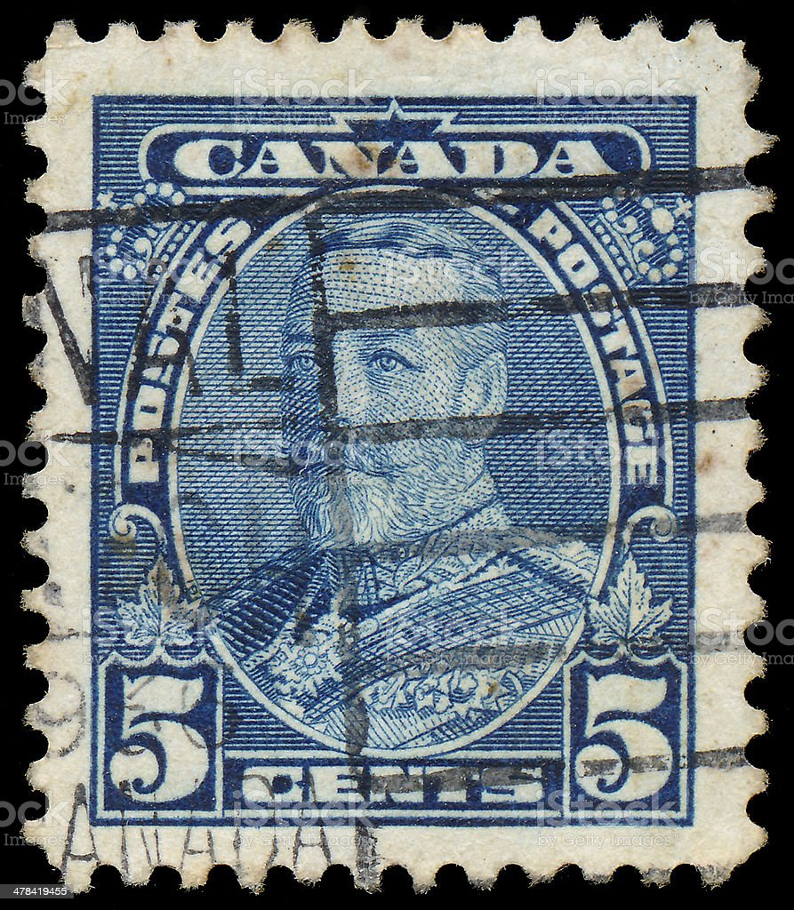 Stamp printed in Canada shows King George V. stock photo