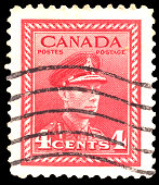 Canada - CIRCA 1943: A stamp printed in Canada shows Royal families, King George VI, Wilding Portrait serie, circa 1943