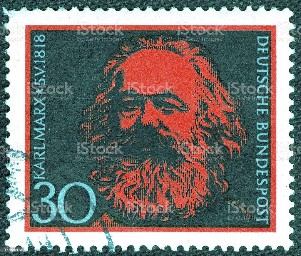 Stamp printed in Germany  of Karl Marx , stock photo