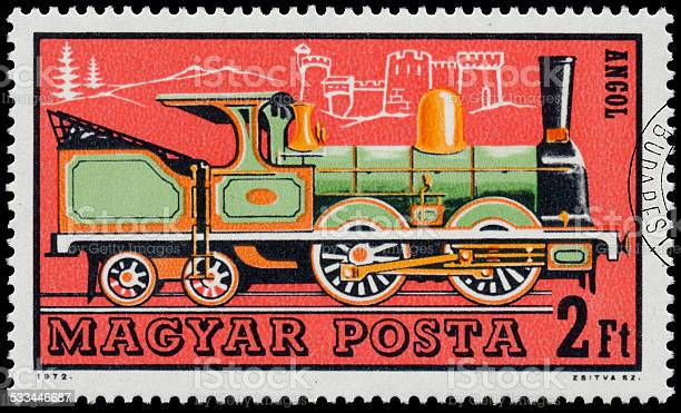 Stamp printed in Hungary shows english locomotive