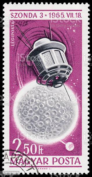 Stamp printed in Hungary shows Space Exploration Achievements